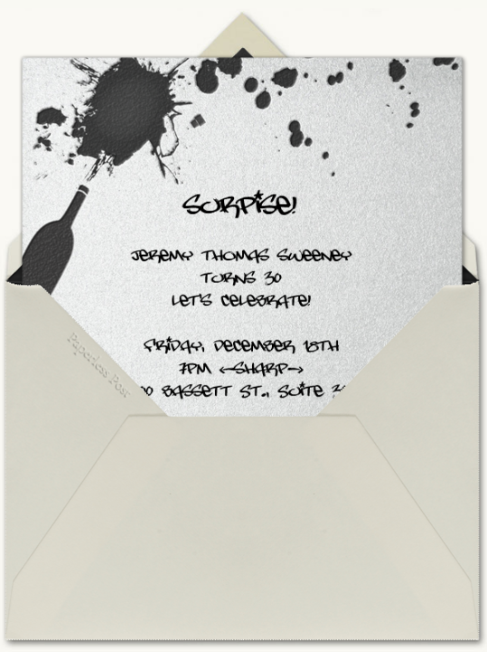 121809 Jeremy Sweeney Surprise Invitation